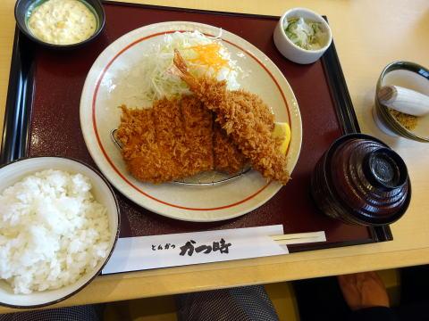 日替わりランチ(ロ-スカツとエビフライ