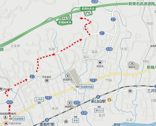 豊川インターチェンジ方面から下道で長篠設楽ヶ原パ-キングエリアへの行き方